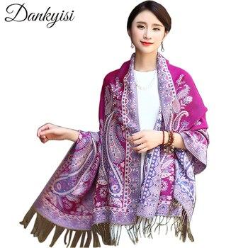 DANKEYISI étnicos de las mujeres de invierno bufanda Jacquard bufandas  estampado Floral chales damas largo Pashminas de robó indio Echarpe 333f7fcf326