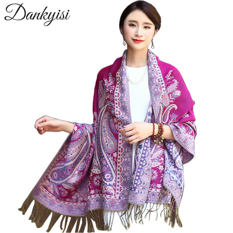 83347c1a827 DANKEYISI Ethnic Winter Women Scarf Jacquard Scarves Floral Print Shawls  Ladies Long Pashminas Fashion Stole Indian