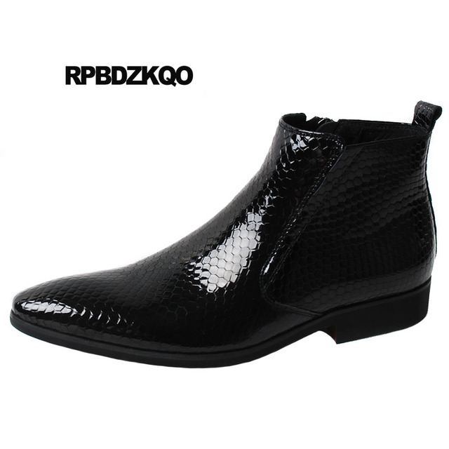 3a64e6fb5f2 Fur Formal Booties Wedding Snakeskin Mens Black Patent Leather Boots Ankle  Dress Pointed Toe Male Shoes Chunky Full Grain Winter