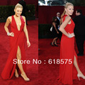 Red Carpet Dress Deep V Neck Backless Side Split Blake Lively Red Evening Celebrity Dresses