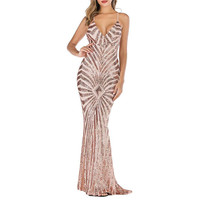 Sexy Fashion Elegant Tassel Solid Sleeveless Shining Long Sequin Dress