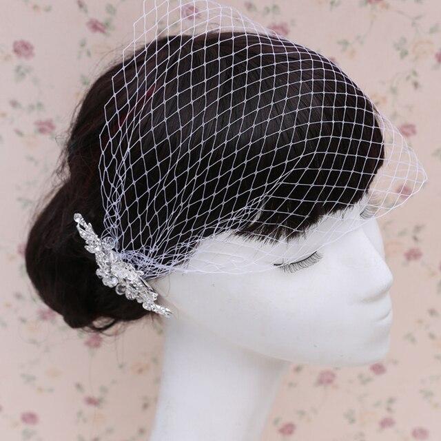 Hot Selling One Layer Bridal Veil Accessories Crystal Ivory Wedding Birdcage Velo De Novia Con El Peine  BV03