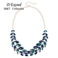 New Arrival 925 Sterling Silver Full Ocean Blue Crystal Leaf Pendant Female Jewelry Long Choker Necklaces
