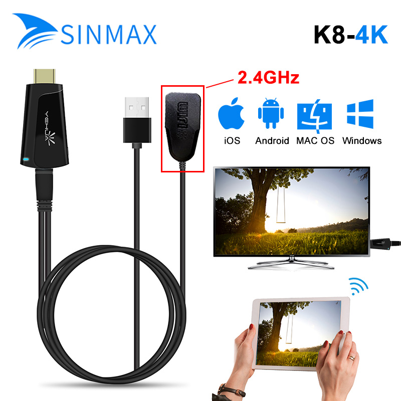 2.4G&5 Ghz 4K HD Smart Wireless Streaming HDMI TV Dongle Display Receiver Airplay DLNA Mirroring PC Wireless Display Dongle