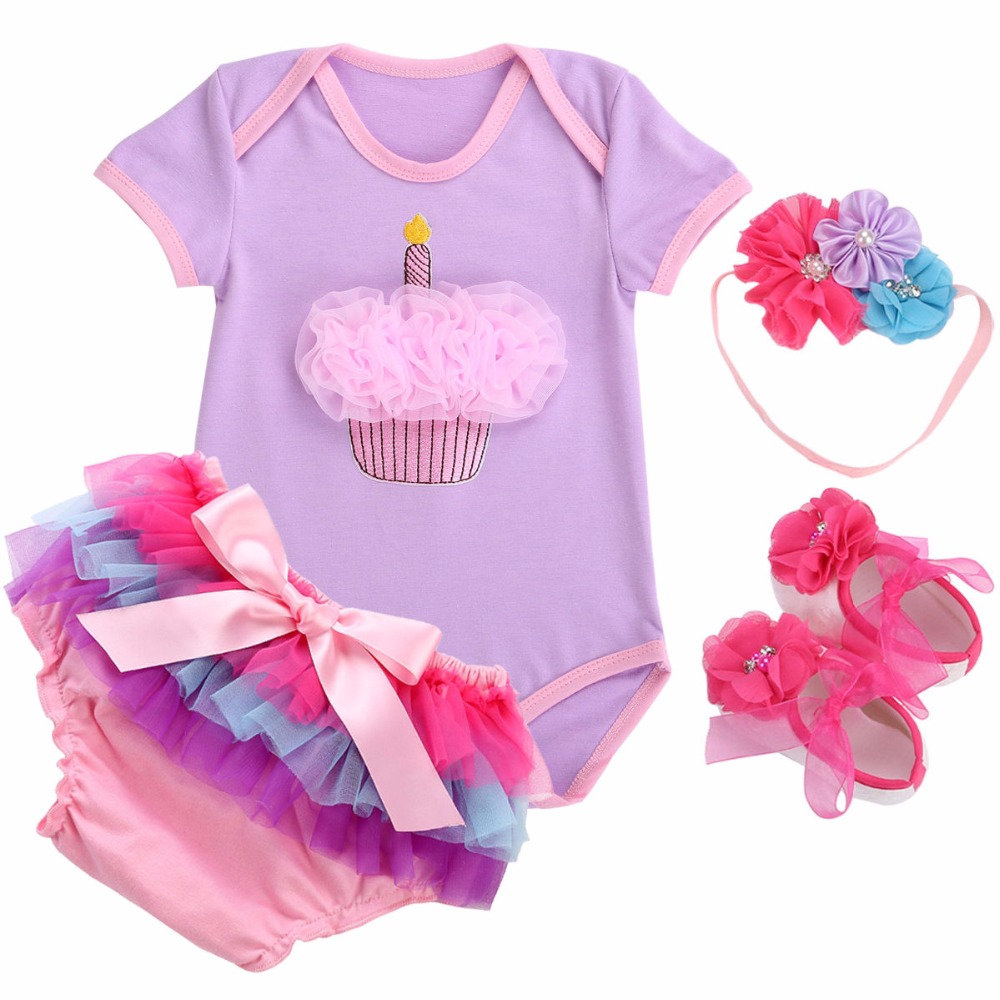 Clothing Sets Glorious Cake Smash One Year Birthday Newborn Baby Girls Clothing Set Bebes Outfit;4pcs Infantil Kids Clothes Short Sleeve Bodysuit Dress Structural Disabilities Mother & Kids