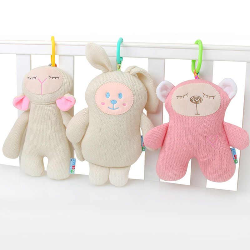 Infantil macio pelúcia coelho urso carrinho de bebê cama pendurado boneca bonito tricô macio apaziguar brinquedos infantis