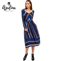 AZULINA Casual Striped Dress Women Autumn 2017 Long Sleeve Mid Calf Dress Ladies Elegant A Line