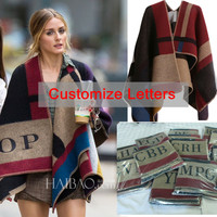 Oversized Sweater Cardigan 2014 Free Shipping European Catwalk Street Snap Knitted Cardigan Plaid Cape Poncho Shawl