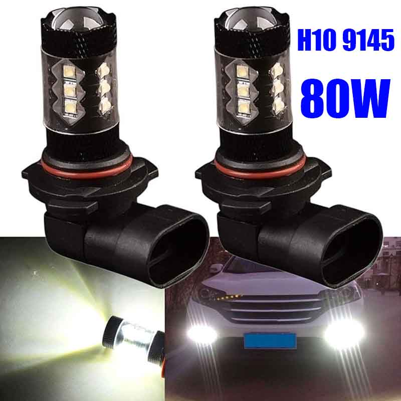 2pcs H10 9145 LED Car Fog Driving Light Daytime Running Light Bulb For Car Lights 80W cjxmx h7 led fog light bulbs 1600lm 80w extremely bright automobile front light fog lamp driving bulb 6500k for car truck lights