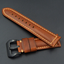 2018 Handmade luxury fashion Genuine Leather Watch Band Strap for P Watch 20mm 22mm 24mm 26mm With black Stainless steel Buckles