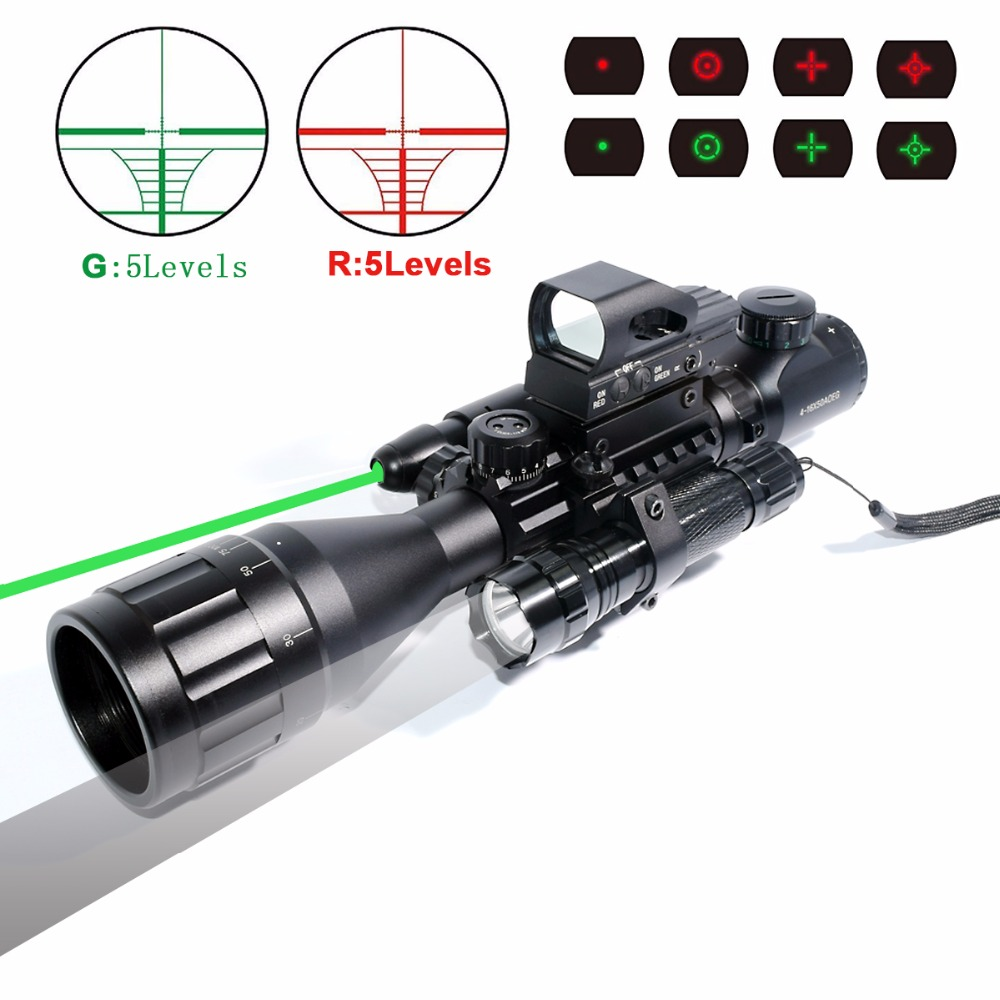 Laser Scope 4-16x50 Red Green Illuminated Reticle Riflescope Sniper Scope with Flashlight 20MM Rail Mounts for Hunting ar ak m4 ship from us new 3 9x40 illuminated rifles scope with red laser