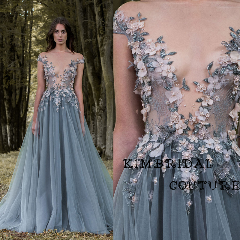 Fashion Evening Gowns Golv Längd Spets Appliques Handgjorda Blommor En Line Transparent Bodice Paolo Sebastian 2017 Prom Dress