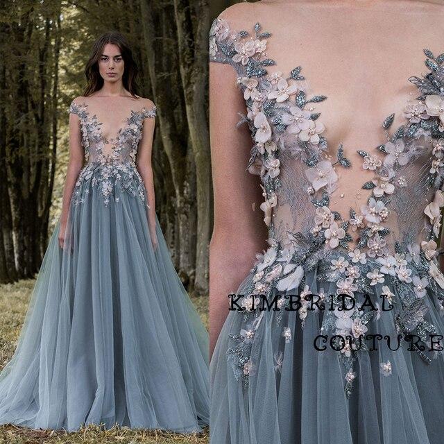 80ac0d644c634 Moda Vestidos de Noche Palabra de Longitud de Encaje Apliques de Flores  Hechas A Mano Una