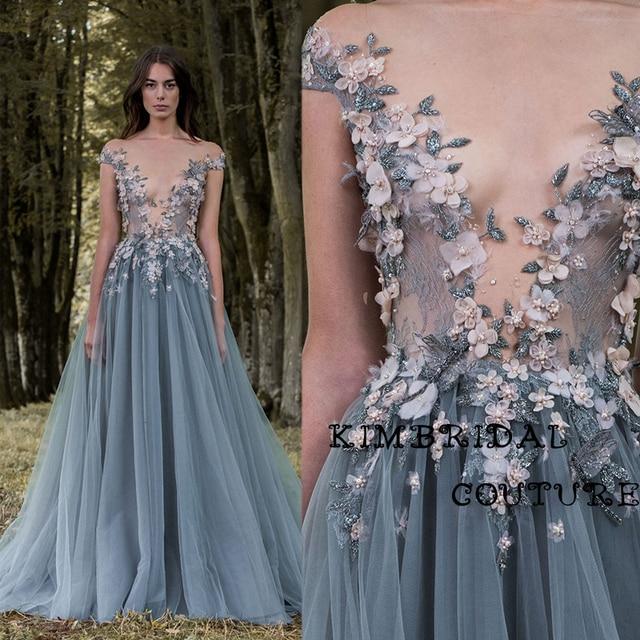 82fa3f6789 Moda suknie wieczorowe piętro długość koronkowe aplikacje ręcznie wykonane  kwiaty linia przezroczysty gorset Paolo Sebastian 2017
