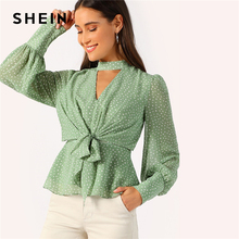 SHEIN Green Choker Neck V-cut Knot Front Bishop Sleeve Peplum Top Women Elegant