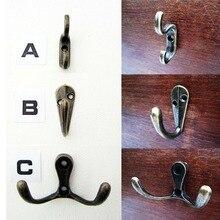 6 piezas de latón antiguo Vintage decorativo Mini joyería caja de pecho puerta armario ropa sombrero lámpara de foto solo ganchos doble perchas