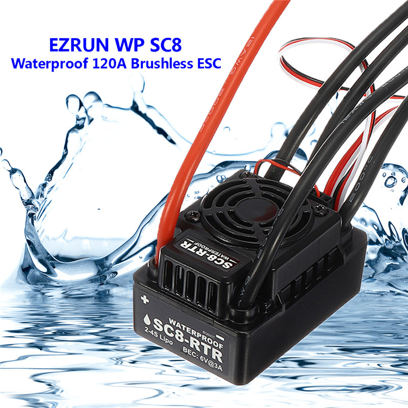 WP SC8 Waterproof 120A Brushless ESC Splash Water Proof Dust EZRUN-WP-SC8 ESC 2-in-1 Multi-Functional Professional Programming wp sc8 waterproof 120a brushless esc splash water proof dust ezrun wp sc8 esc 2 in 1 multi functional professional programming