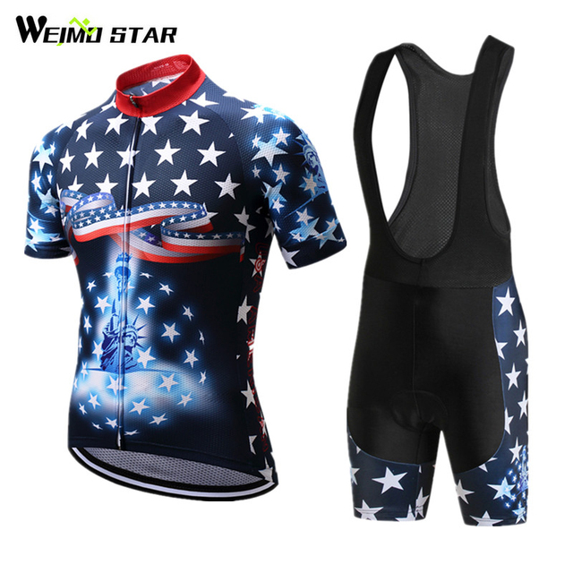 Weimostar 2018 pro team USA Cycling Jersey Set Racing Sport Bicycle Clothes  Cycling Clothing mtb Road Bike Jersey Ropa Ciclismo c88672ab4