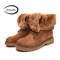WEIQIAONA Winter Warm Plush Women Martin Boots Genuine Leather Fur Lace Up Casual Lady Ankle Boots