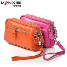 MANXISI Marke Frauen Geldbörsen Doppel-reißverschluss Kupplung Taschen Und Geldbörsen Echtes Leder Brieftasche Abendtaschen Rot Damen Kupplung