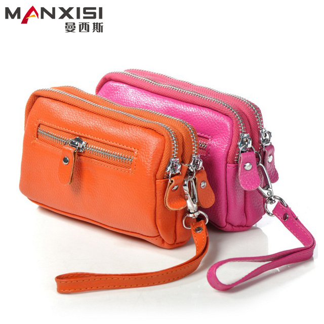 MANXISI Brand Women Coin Purses Double Zipper Clutch Bags And Purses Genuine Leather Wallet Evening Bags Red Ladies Clutch