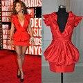 ONC109 Music Awards Beyonce Short Sleeve V Neck Sexy Short Celebrity Dress