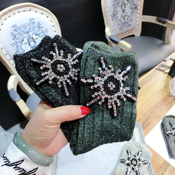 2019 Fashion Cool Spring Candy Color Handmade Rhinestones Women Socks Christmas  Knit Harajuku Hip Hop Socks Women