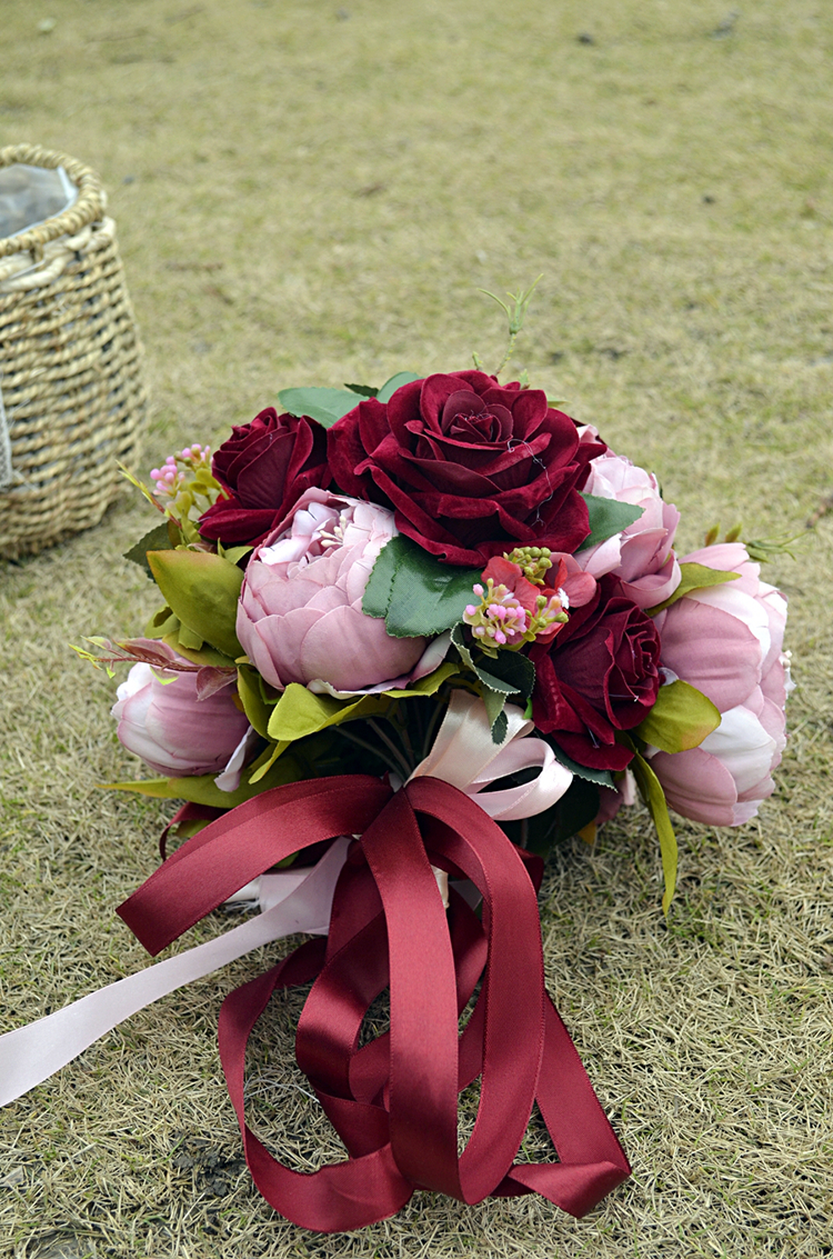Купить с кэшбэком Hot sale nature flowers bouquet burgundy rose flowers real touch Artificial peony brooch bouquet bride buque de noiva