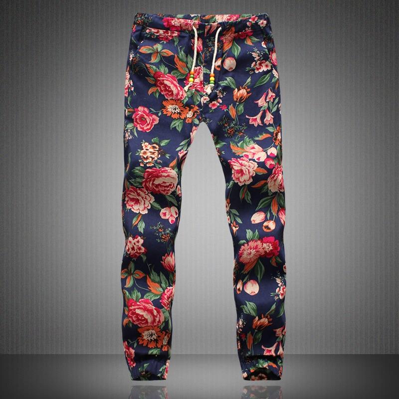 Linen Pants Men 2017 New Fashion Men Floral Print Joggers Male Casual Summer Pants Mens Sweatpants