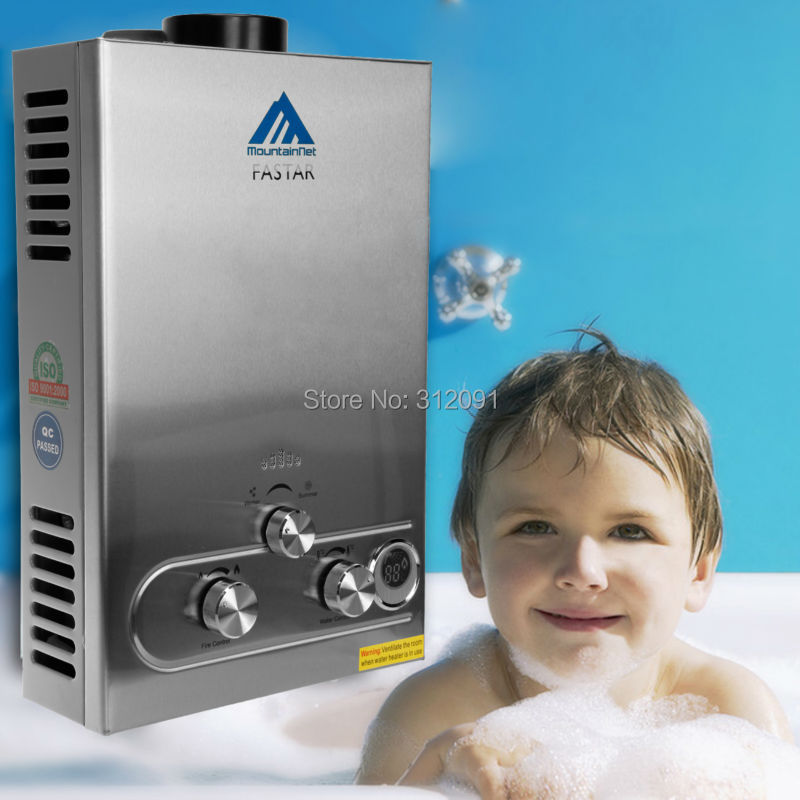 EU Free shipping 8 Liter LPG Propane Gas Boiler Instant Tankless Hot Water Heater Stainless Panel