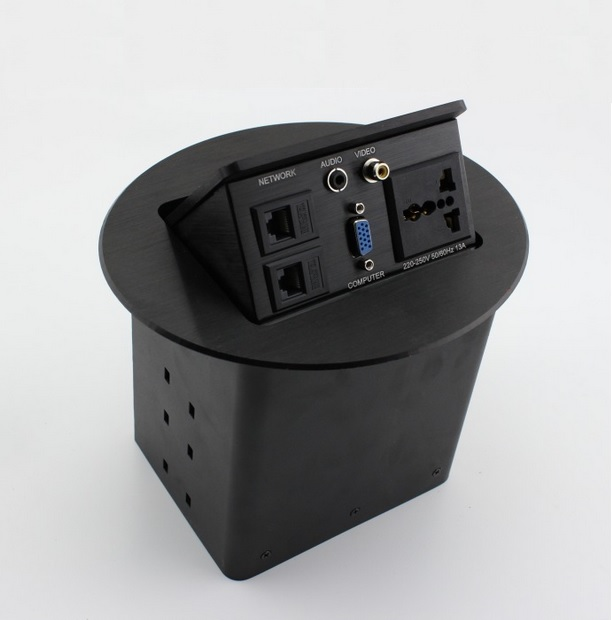 ФОТО Built in Desk Power and Data Ellipse Outlets 205*173mm - Modular Jack at Will-Black or Fiber Surface