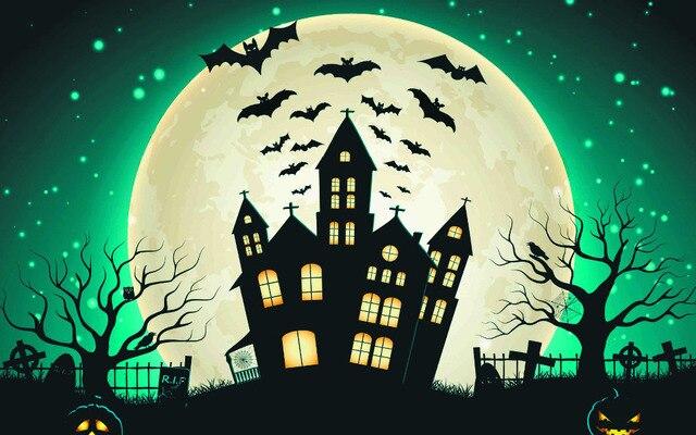 b43ws hd home wallpaper pumpkin witch halloween party silk art print wall ornament unframed - Halloween Party Wallpaper