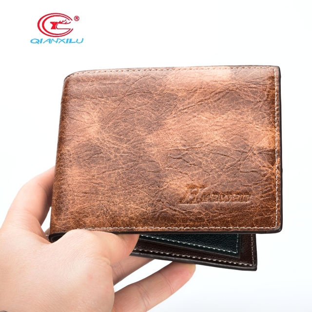 Famous Brand Men's Leather Wallet Vintage Crazy Horse Leather Man Wallet Simple Design Money Clip Wallet Man