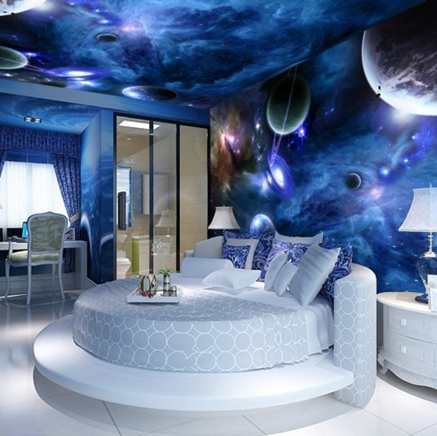 Beibehang 3d Murals Star Planet Universe Space Planet 3d Mural Photo