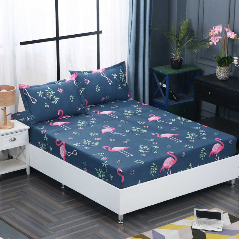 1pcs 100% polyester printing bed mattress set with four corners and elastic band sheets hot sale