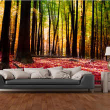 Custom landscape wallpaper,Colourful Autumn Forest,3D photo