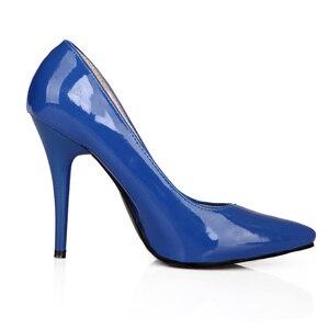 Image 4 - Brand Nieuwe Glamour Blauw Beige Vrouwen Formele Pompen Classic Stiletto Hakken Dame Naakt Schoenen HG5A Plus Grote Kleine Maat 10 12 30 43 48