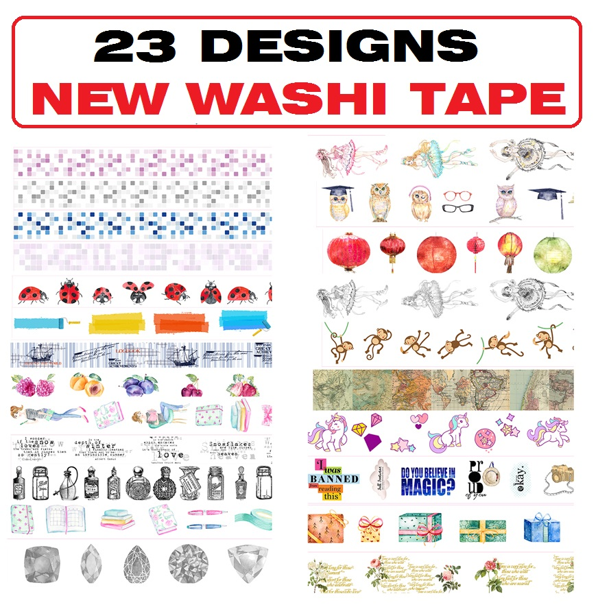 23Designs NEW!! Flowers/Girls/Mosaic/Ballet /Map/Ladybug Japanese Washi Decorative Adhesive DIY Masking Paper Tape Sticker Label