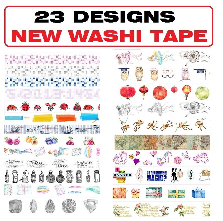 23Designs NEW!! Flowers/Girls/Mosaic/Ballet /Map/Ladybug Japanese Washi Decorative Adhesive DIY Masking Paper Tape Sticker Label