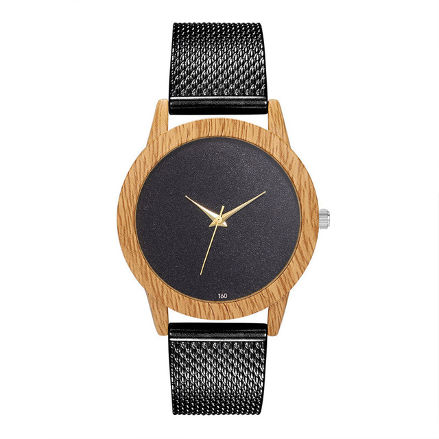 Creative Watches Women Plastic Band Bamboo Case Lady Wrist Watch Wooden Light Black Dial Modern New Style Analog Clock 3