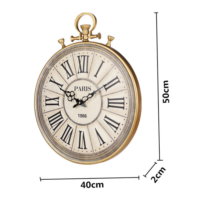 50cm Large Wall Clock Vintage Pocket Watch Style Roman Numerals Quartz Needle For Home Living