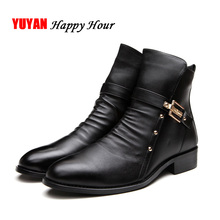 2019 Autumn Winter Shoes Men Genuine Leather Ankle Boots Fashion Rivets Men's Chelsea Boots Warm Plush for Cold Winter A126
