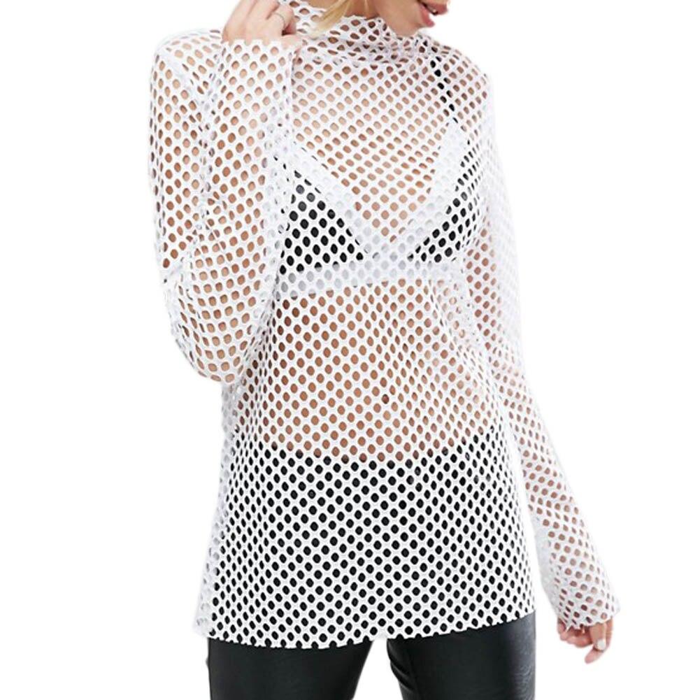 Sexy Mesh Top Women Girl Summer Hollow Out Crop Long Sleeve Top T Shirt Dancewear Lady Harajuku White Crochet Lace Shirts