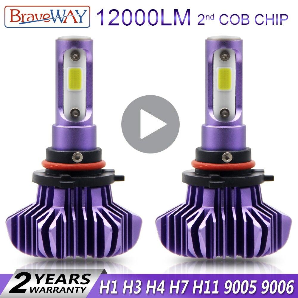 BraveWay H1 H3 H4 H7 H11 CONDUZIU a Luz Do Carro Lâmpada De Gelo para Atuo Lâmpadas de Diodo para Carros H4 Lâmpada Led para Moto H1 H7 9006 HB4 LED HB3