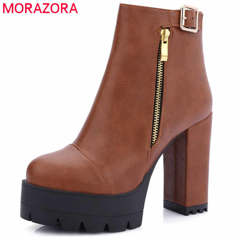 Morazora 2018 Baru Fashion untuk Wanita, Round Toe, Zipper Sepatu Hak Tinggi Sepatu Musim Gugur Musim Dingin Platform Sepatu Wanita Semata Kaki