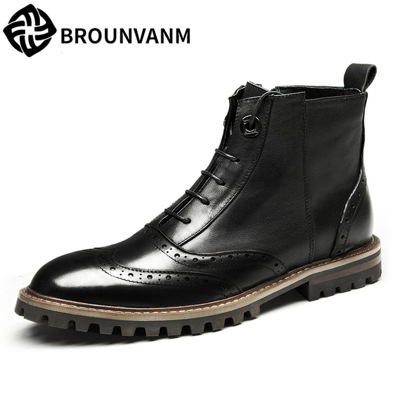 2017 new autumn winter British retro men Bullock boots, leather shoes breathable fashion casual shoes boots men big size martin boots men s high boots korean shoes autumn winter british retro men shoes front zipper leather shoes breathable