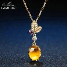 LAMOON 925 Sterling Silber Halskette Citrin Edelstein Anhänger Halskette Für Frauen 14K Gold Überzogene Blatt Form Feine Schmuck LMNI010