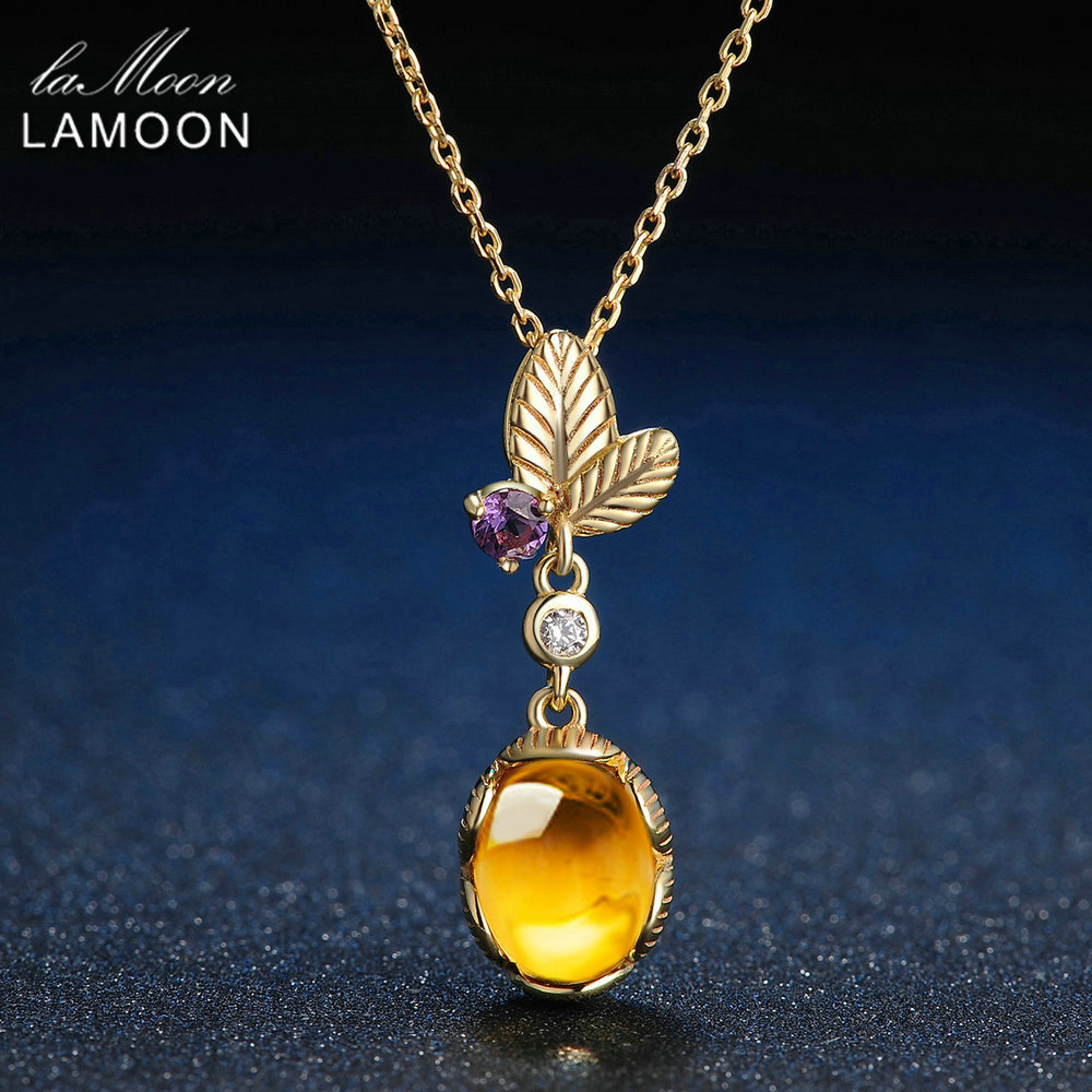 LAMOON 925 Sterling Silver Necklace Citrine Gemstone Pendant Necklace For Women 14K Gold Plated Leaf Shape Fine Jewelry  LMNI010-in Necklaces from Jewelry & Accessories