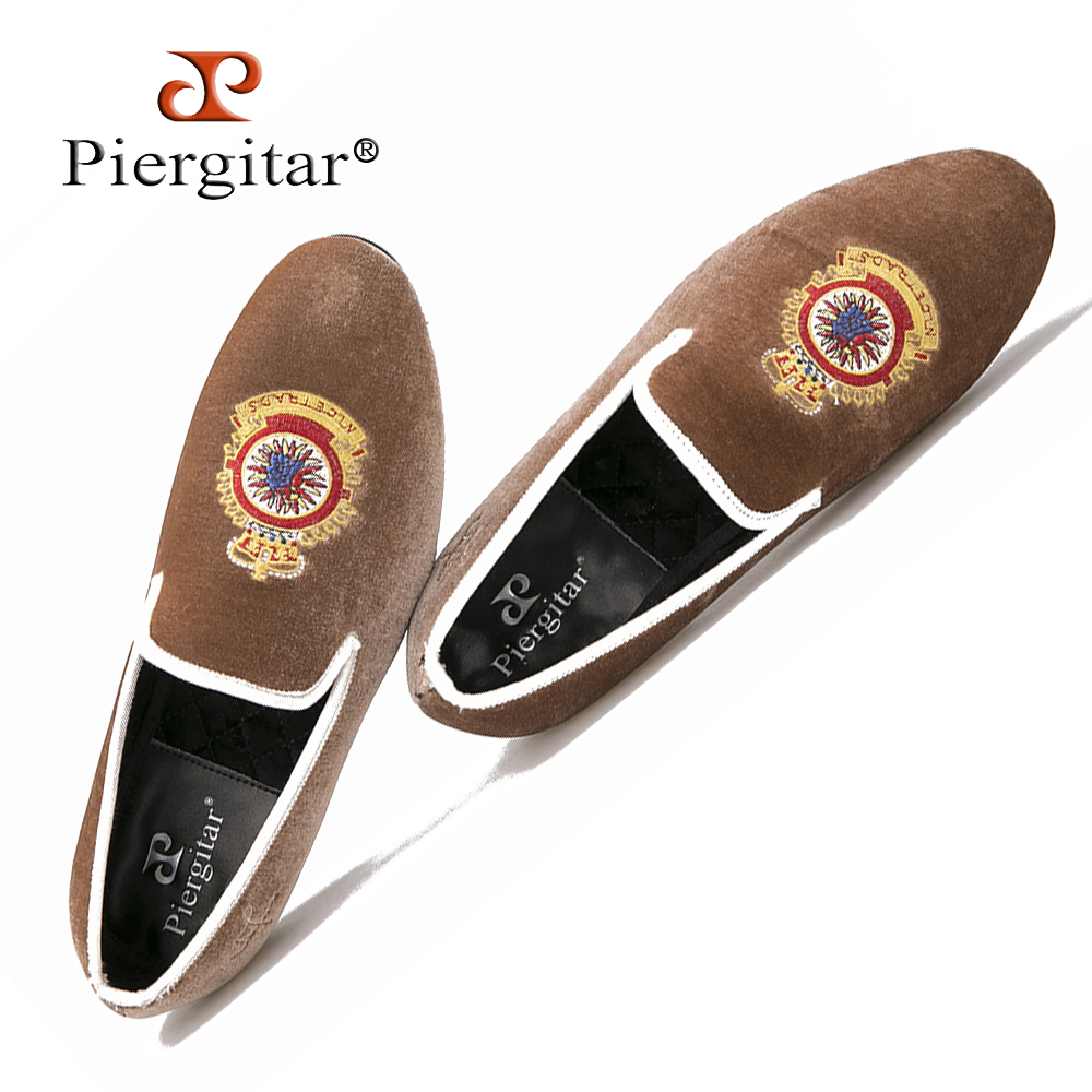 Turkey Crown embroidery Brown Men Velvet Shoes Men Big Size Loafer Men Flats Size 6-14 Free shipping