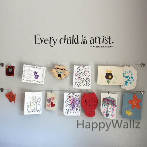 Baby Nursery Quote Wall Sticker Every Child Is An Artist DIY Decorative  Vinyl Children Quotes For
